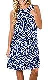 SimpleFun Womens Plus Size Summer Casual Floral Print Sleeveless Midi Dresses(Blue,XXL)