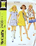McCalls 2408 Vintage ©1970; Girls' Dress with Front Zipper Sewing Pattern, Check listing for Size