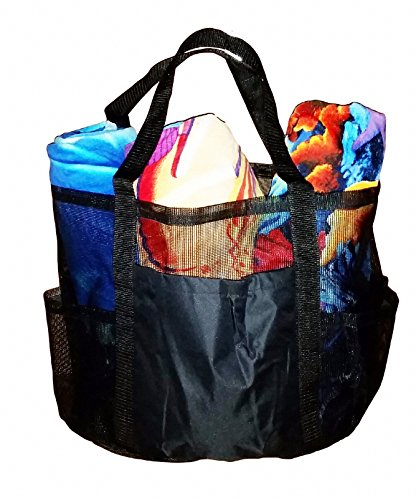 Super Big (Huge) X-Large Coated Mesh Family Beach Bag /Tote (CK BLACK)