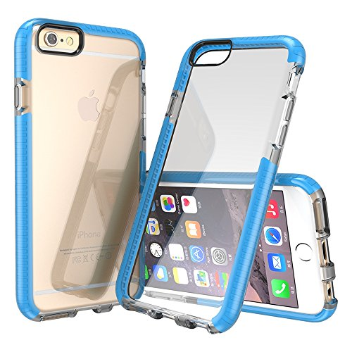 Grandcaser Funda para iPhone 6 Plus/6s Plus 5.5,[Rugged Armor] Flexible Slim Fit Estuche Protectora Goma Silicona TPU Gel Carcasa Crystal Claridad para Cover Duro Antideslizante Vistoso Parachoques - Transparente Azul