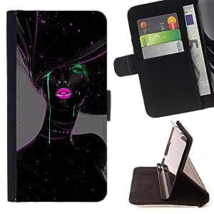 GREEN LIPS PINK BLACK WOMAN FASHION/ Personalizada del estilo del dise???¡Ào de la PU Caso de encargo del cuero del tir????n del soporte d - Cao - For Apple Iphone 5C