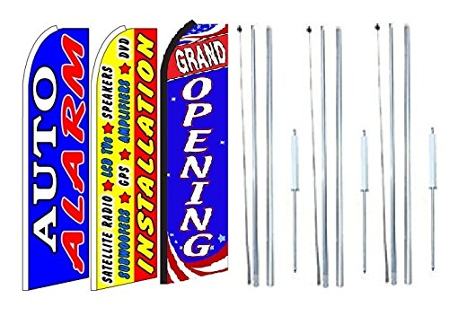 Lcd Pole Kit (Auto+alarm,+installation+satelite+radio,+lcd,+speakers,+amplifiers, Grand opening King Swooper Feather Flag Sign Kit With Complete Hybrid Pole set- Pack of 3)