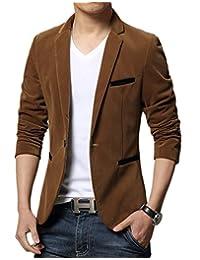 Liveinu Men's Slim Fit Casual Velvet One Button Blazer Jacket