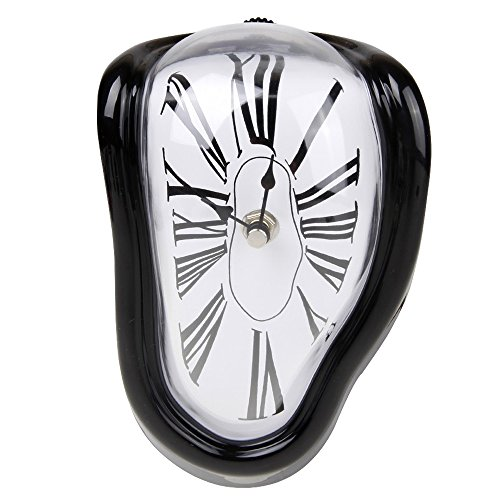 HevaKa Creative COOL Gift Melting Clock 90 Degree Twisted Wall Clock - Black ()