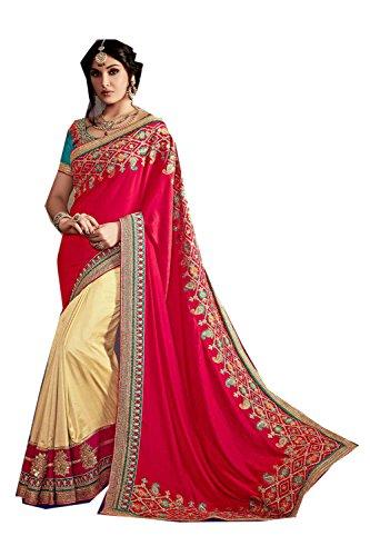Da Facioun Indian Sarees For Women Wedding Designer Party Wear Traditional Red,Cream Saree. by Da Facioun