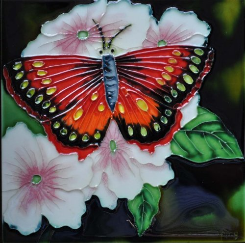 Decorative Art Tile - Continental Art Center BD-0011 8 by 8-Inch Red Butterfly with White Flower Ceramic Art Tile