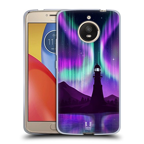 Head Case Designs Lighthouse Seascape Northern Lights Soft Gel Case for Motorola Moto E4 Plus (Seascape Lighthouse)