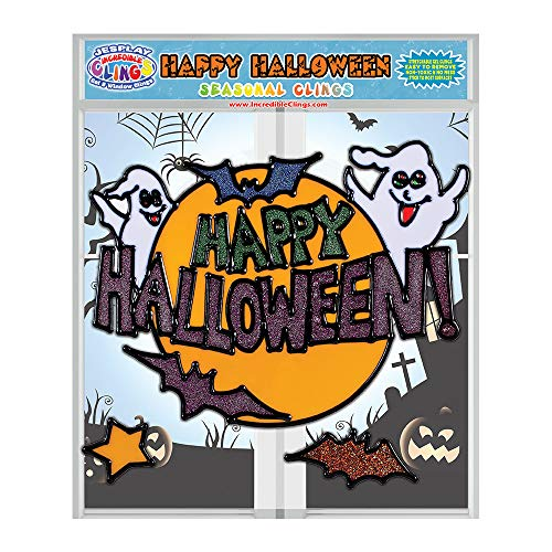 Incredible Clings Happy Halloween Gel Clings – Flexible Window Clings for Kids and Toddlers (CPSC Certified) – Large Gel Cling and Smaller Bat and Star Stick to Glass, Fridge and -