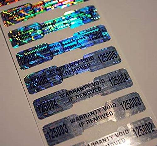 (100 High Security Tamper Evident Warranty Void Dogbone Hologram Labels/Stickers w/ Unique Sequential Serial Numbering and Bar Code)