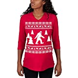Old Glory Sasquatch Ugly Christmas Sweater Red Maternity 3/4 Sleeve T-Shirt - X-Large