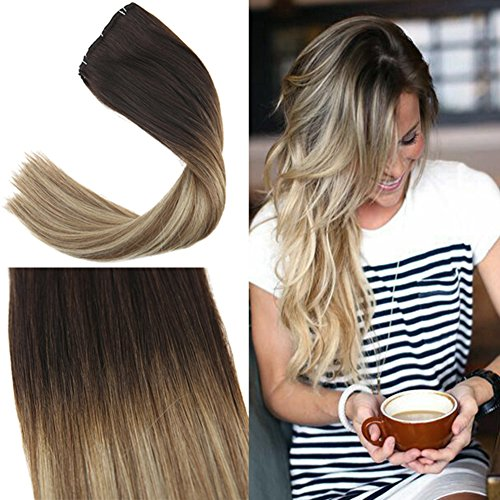 Youngsee 7Pcs/120G Full Head Clip in Hair Extensions Ombre Balayage Darkest Brown Fading to Chestnut Brown Mixed Light Blonde Silk Straight Clip Hair Extensions 16inch