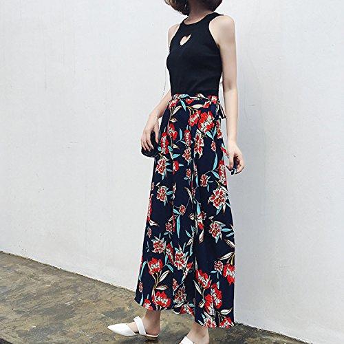 Fleurs Motifs Longueur Une Pice Fleurs Femme Casual Tendance Maxi Jupe Haute Jolisson Chic Imprim Rouges Fendu Taille XEZqYY