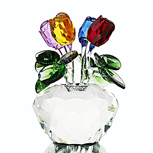 H&D HYALINE & DORA Multi-Colored Rose Figurine Ornament Spring Bouquet Crystal Glass Flowers Gift-Boxed