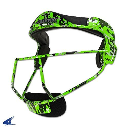The Grill Defensive Fielder's Facemask for Softball in 7 Colors & Two Sizes (Lime Camo, Youth - 6 ¼ - 6 ¾) (Mask Pitchers)