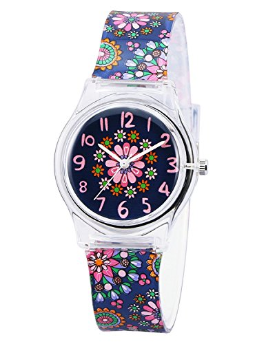 Girls Watch Very stylish Cute and Easy to Read Colorful Flowers Cartoon Band Watch for Teen Young Girls Daisy Girls Fashion Watch