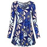 Vibola Dress for Women, Ladies Floral Printing Long Sleeve Mini Dress Swing Dress (M, Multicolor)