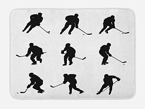 Hockey Silhouette - Ambesonne Hockey Bath Mat, Pattern with Player Silhouettes in Black and White Different Positions with Sticks, Plush Bathroom Decor Mat with Non Slip Backing, 29.5 W X 17.5 L Inches, Black White