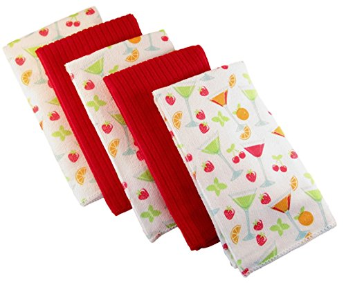 Microfiber Kitchen Towels - Pack of 5 - Coordinating Prints and Solids (Martini Glasses and (Martini Dish)