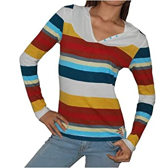 Ocean Pacific OP Womens Cotton Stripe Warm Hoodie Sweatshirt (Size: M)