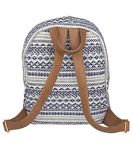 456c09969aaff ... SIX SALE Trend großer Rucksack aus Canvas Stoff Reissverschlusstasche  Damen Handtasche blau-weißen Ethno Muster ...