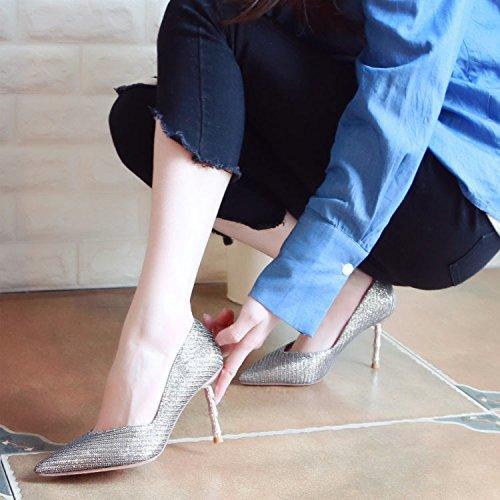 ZHUDJ Primavera, Tacones Altos, Tacones, Llanamente Superficial Zapatos, Zapatos De Tacones Finos, Banquetes Y Temperamento Solo Zapatos Gun color