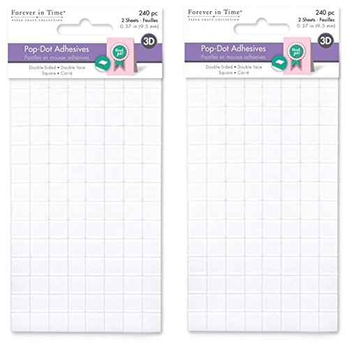 Forever in Time PD109 Square Dual-Adhesive Foam Mounts, 0.4in, 240Pc (2 Pack) ()