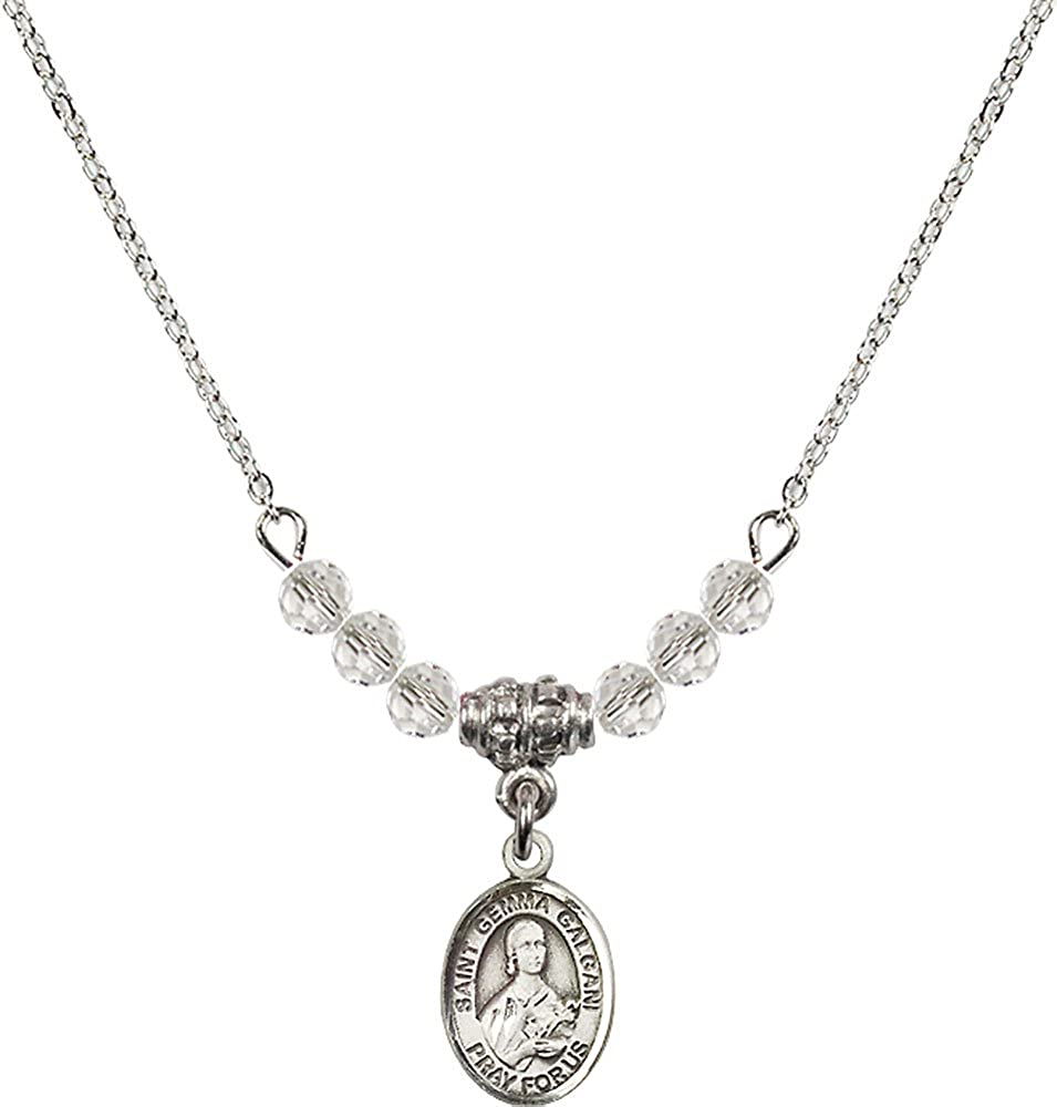 18-Inch Rhodium Plated Necklace with 4mm Crystal Birthstone Beads and Sterling Silver Saint Gemma Galgani Charm.