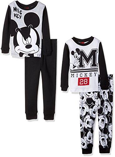 Disney Boys' Big Boys' Mickey Mouse Toddler 4-Piece Pajama Set, Jet Black, 8