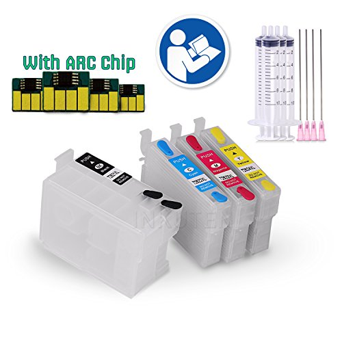 INKUTEN 252 Refillable Cartridges Empty for T252 252 T254 254 WorkForce WF-3620, WF-3640, WF-7110, WF-7610 WF-7620, WF-7710, WF-7720 with auto-reset chips + syringes