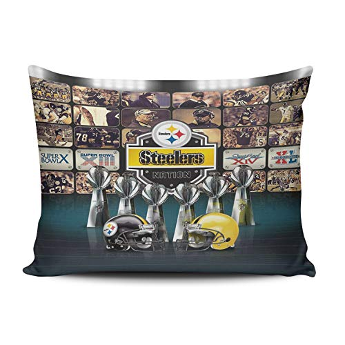 WEINIYA Bedroom Custom Decor Pittsburgh Steelers Theme Pillow Cover Case Elegant Design One Side Printed Patterning Lumbar 12x20 Inches
