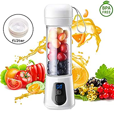 Portable Blender,Updated 2019 Version Glass Grade USB Rechargeable Single Serve Personal Blender For Shake and Smoothie Juicer Bottle Fruit Mixer(6-Blades), 15 Oz Multifunctional Travel Juice Cup for On The Go,With 4200mAh Ice Tray (FDA BPA Free)