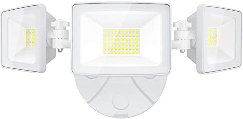 Onforu 50W LED Security Light, 5000LM Outdoor Flood Lights Fixture with 3 Adjustable Heads, IP65 Waterproof, 5000K White Super Bright Exterior Wall Mount Security Light for Eave, Yard, Garden, Porch