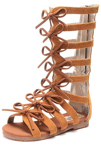 Strappy Zipper (UBELLA Girls Zipper Bowknot Strappy Knee-High Gladiator Sandals Comfort Flat Zip Up Boots Shoes (Toddler/Little Kid))