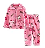 Flannel Kids Pajama Soft Sleepsuit Pink Rabbit Velvet Sleepwear Nightcloth