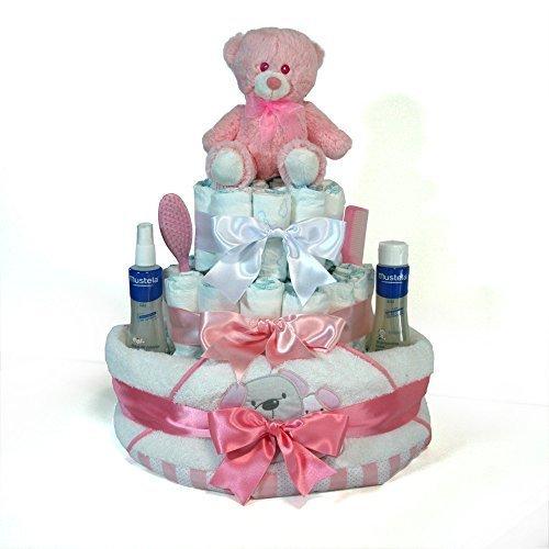 Tarta de pañales niña Mustela Dodot - Baño Optima rosa - Mil Cestas: Amazon.es: Bebé