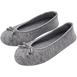HomeTop Women's Elegant Cashmere Knitted Memory Foam Indoor Ballerina House Slippers/Shoes (Medium/7-8 B(M) US, Gray)