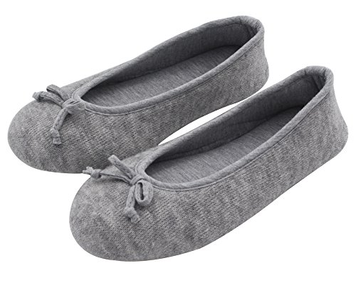 Pictures of HomeTop Women's Elegant Cashmere Knitted Memory Foam Indoor Ballerina House Slippers/Shoes (Medium / 7-8 B(M) US, Gray) 1