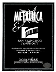 Metallica San Francisco Symphony 1999 S&M Concert Program Programme Michael Kamen Berkeley