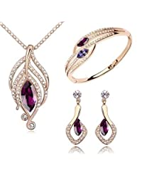 18 ct Gold Plated Simulated Amethyst Crystals from Swarovski Modern Set Necklace Earrings Bangle