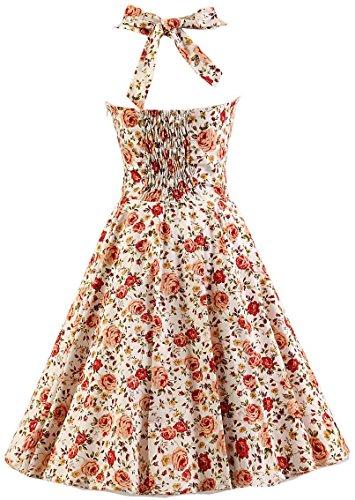 Bridesmaid Halter Women's Flower AmyStylish Orange 1950's Vintage Retro Cocktail Polka Dress tCFwYqxw