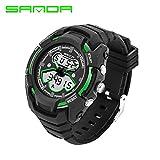 Delight eShop SANDA Waterproof Mens LCD Digital Analog Quartz Date Alarm Sport Wrist Watches (Black&Green)
