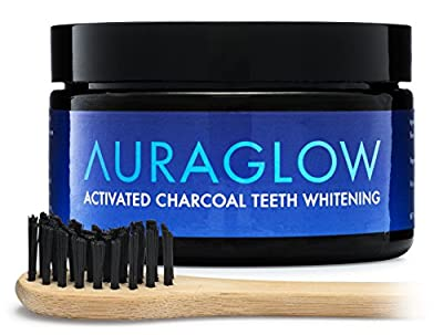 AuraGlow Activated Charcoal Teeth Whitening Powder Natural + Bamboo Toothbrush, 60g