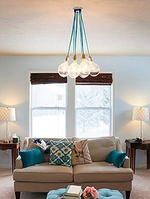 Kiven 9 Cluster Hanging Pendant Light Chandelier Modern Lighting Cloth Cords Industrial Pendant Lamp Ceiling Fixture Light Blue Color Wire