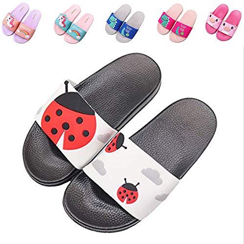 Kids Summer Slide Sandals Non-Slip Beach Water Shoes Pool Bath Slippers Sport Slides for Boys Girls(Toddler/Little Kid) red ladybug30