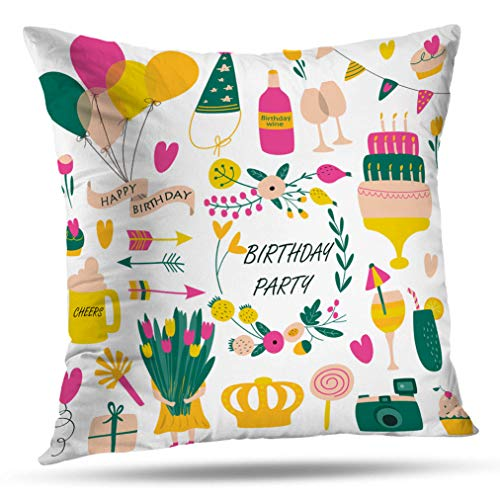 Tyfuty 16 x 16 Inch Throw Pillow Covers Birthday with Balloons Flowers Candies Hearts Arrows Gift Box and Cartoon Pillowcases Cushion Use for Living Room Bed Sofa