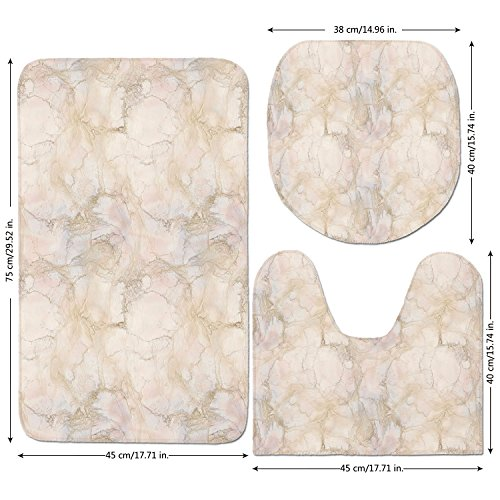 well-wreapped 3 Piece Bathroom Mat Set,Marble,Pink and Peach Marble Background with Crack Patterns Architecture and Building Material Decorative,Beige,Bath Mat,Bathroom Carpet Rug,Non-Slip