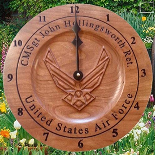 Military Retirement Gift- Custom Carved Military Clock- Airforce Clock