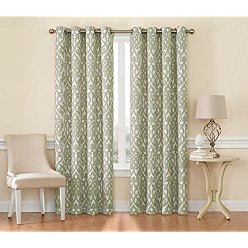 Martha Jacquard Fabric Window Treatment Collection A Pair Of 2 Panels 54 Inch Width 84 Length Each Panel Sage Green W X L