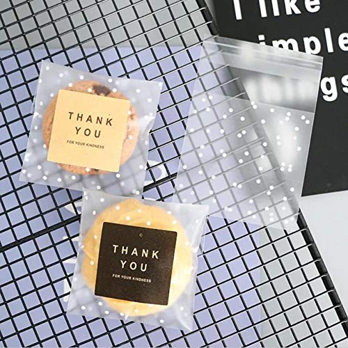 White Dots Self Adhesive Plastic Cookie Bags For Gift Giving 4x4 Inch 200 Bags+200 Thank You Labels