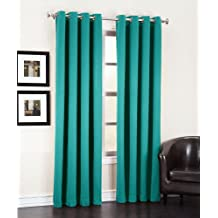 Peddle Grommet Panels, Room Darkening Energy Efficient Curtains, Teal, 80-Inch x 63-Inch, 2-Pack